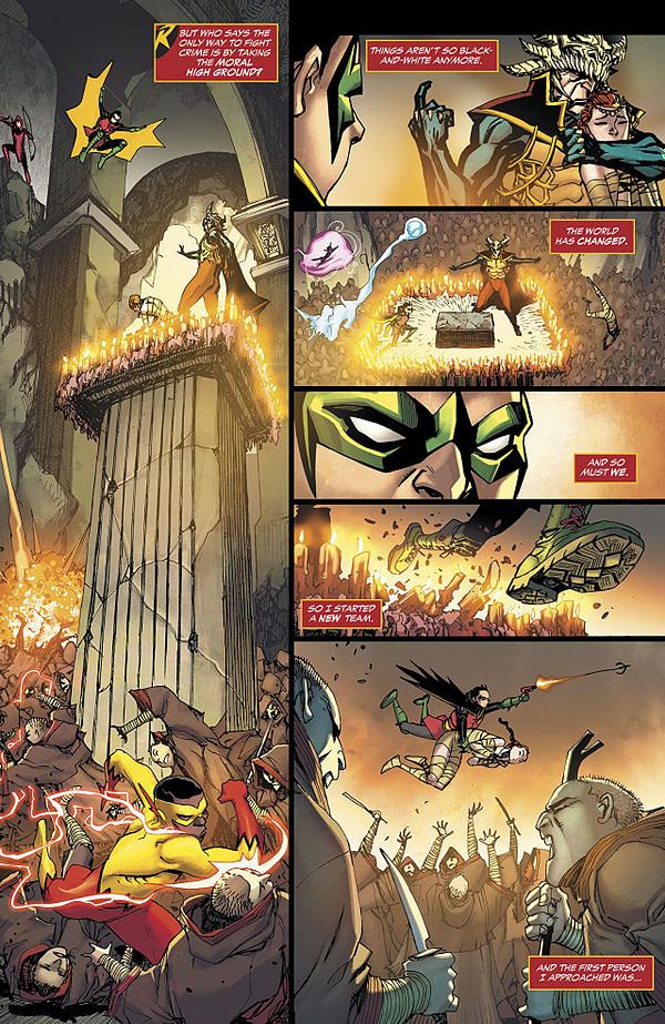 Teen Titans #20 art by Bernard Chang and Alejandro Sanchez