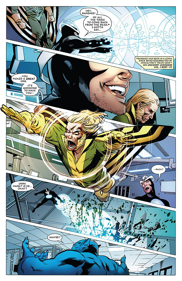 Astonishing X-Men #14 art by Greg Land, Jay Leisten, and Frank D'Armata