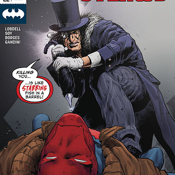 Red Hood and the Outlaws #22 cover by Trevor Hairsine and Antonio Fabela