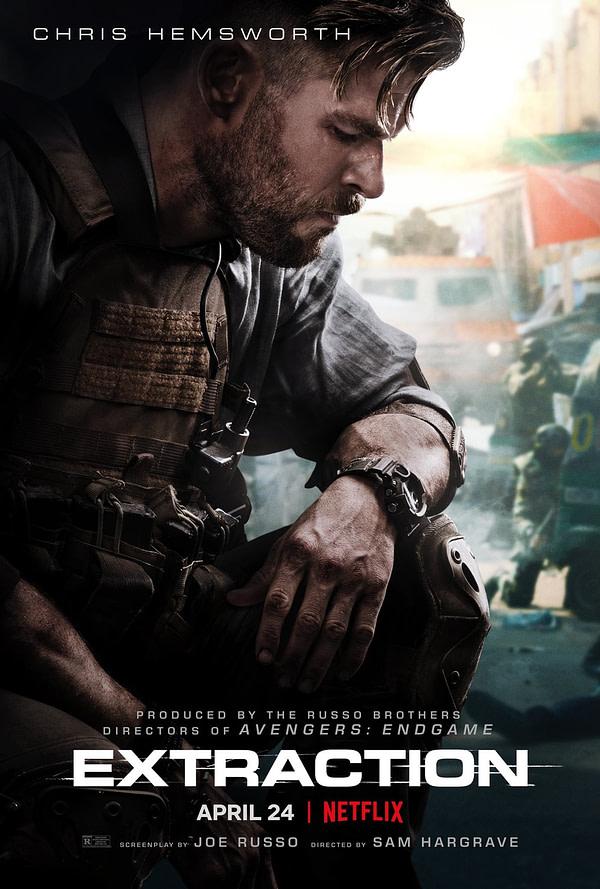 L'affiche de l'extraction du film Netflix à partir de Chris Hemsworth.