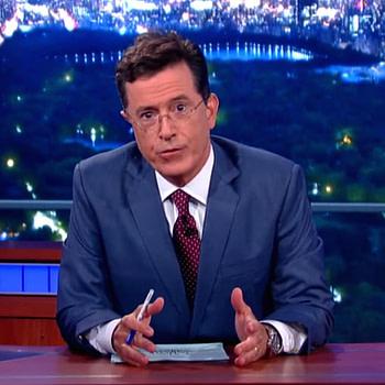 Late night host Stephen Colbert speaks to his audience, courtesy of ViacomCBS.