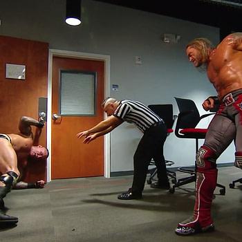 Edge and Randy Orton battle nackstage at WrestleMania.
