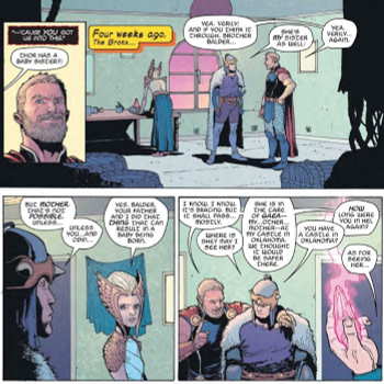 Freya Gives the Sex Talk to Thor and Balder in War of the Realms: Journey Into Mystery #1