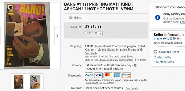 Matt Kindt's Bang #1 Booms On eBay