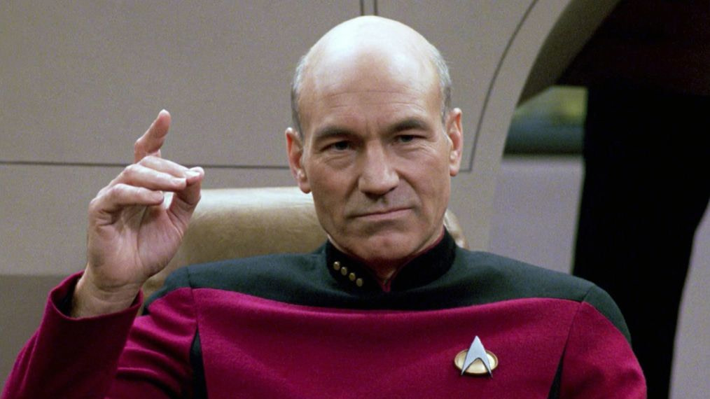 Patrick Stewart as Jean Luc Picard in Star Trek The Next Generation
