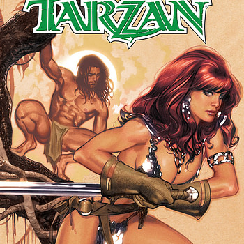 Red Sonja/Tarzan #1 cover by Adam Hughes