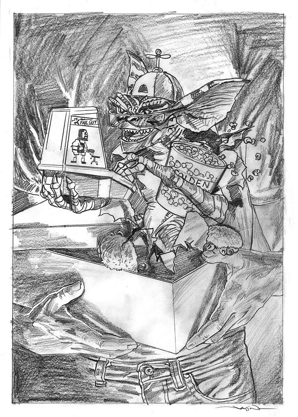 NECA Gamer Gremlin Gamestop Exclusive Pencil Package Art