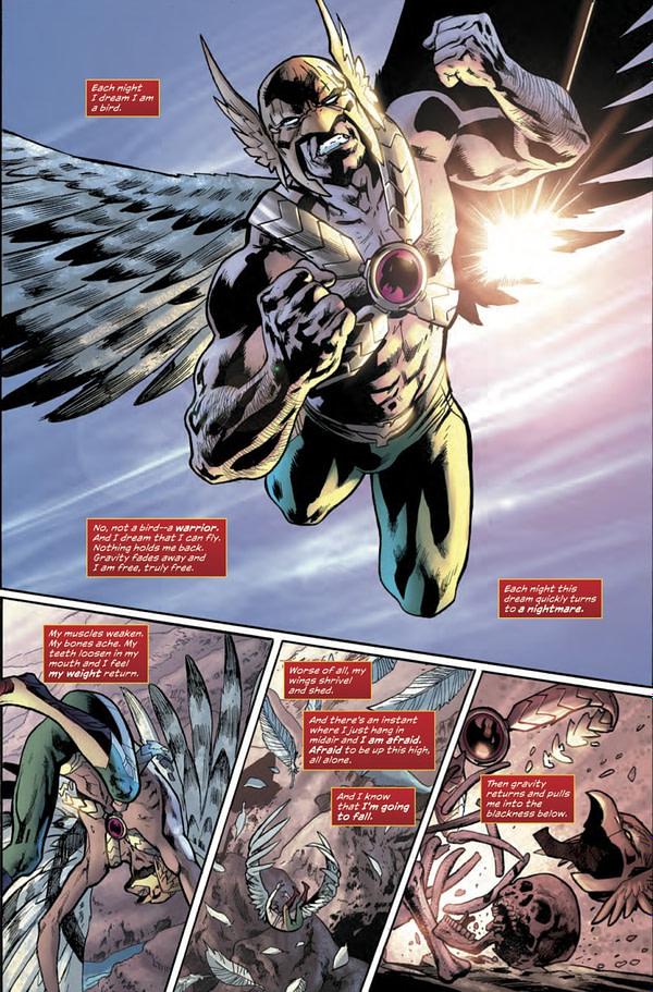 Hawkman Found #1 art by Bryan Hitch, Kevin Nowlan, Alex Sinclair, and Jeremiah Skipper