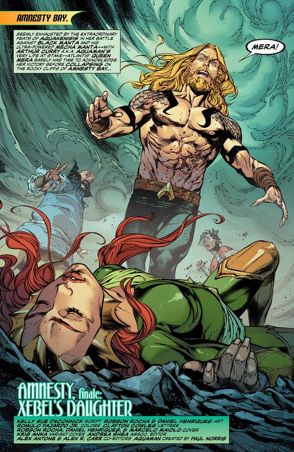 Mera's Pregnancies Encounters Complications in Aquaman #57 [Preview]