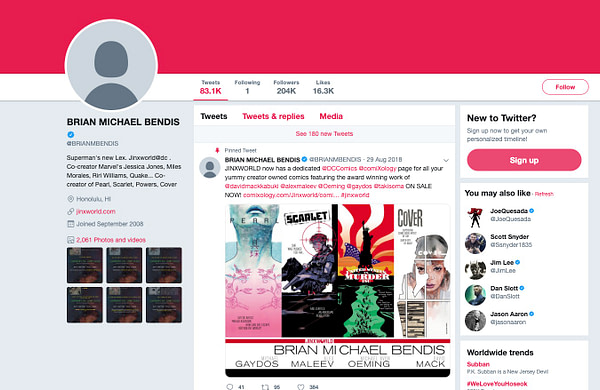 Bendis Wrests Control of Twitter from Hackers After 3-Hour Ordeal