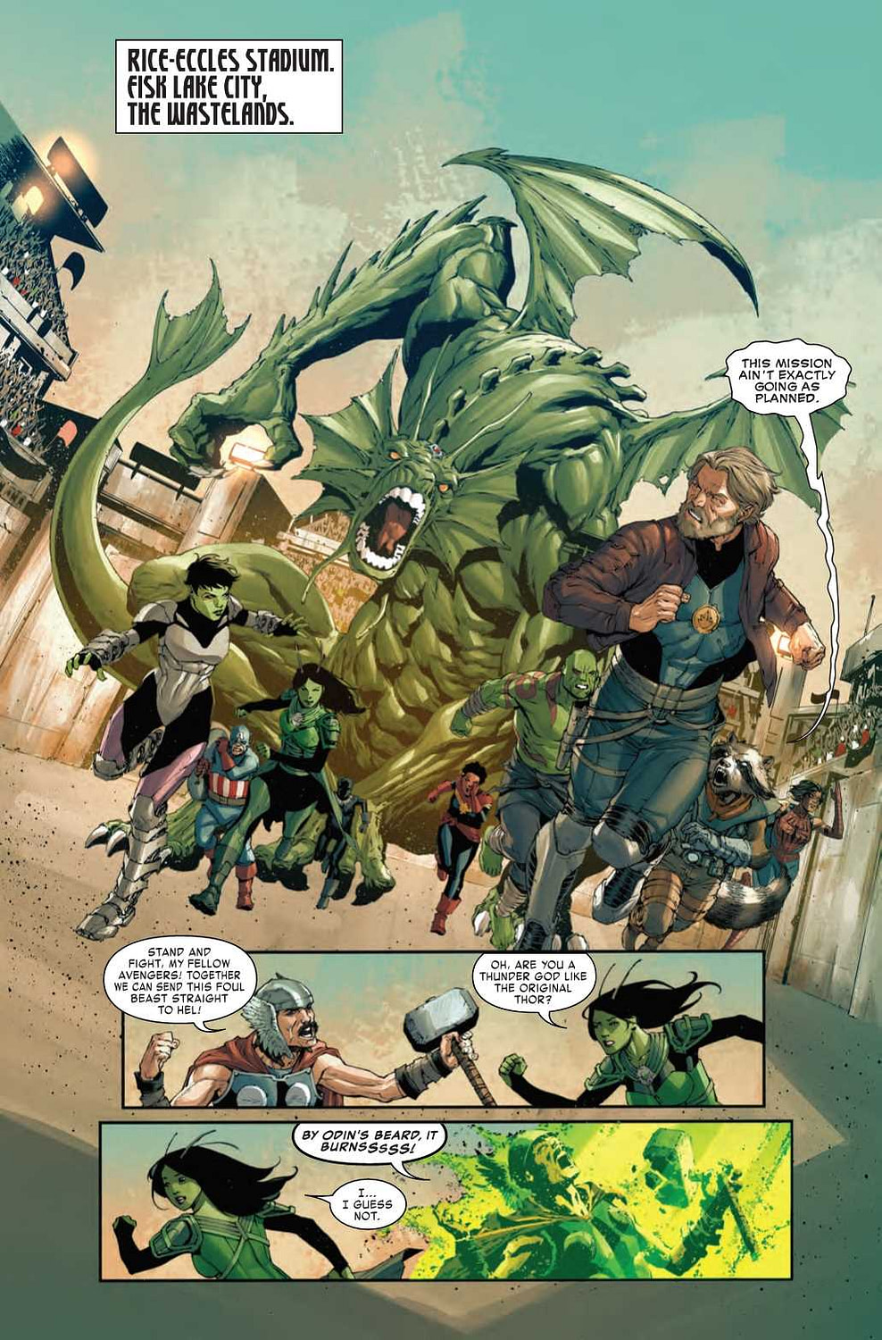 The Deaths of Thor, Captain Marvel, and Captain America - Old Man Quill #4 Preview