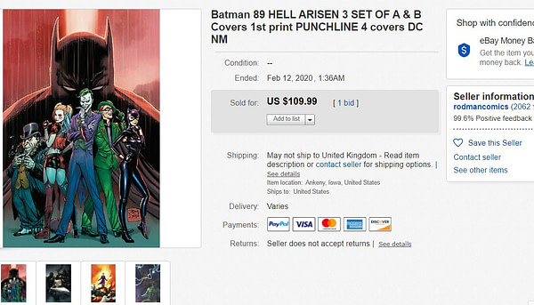 Batman #89 (A and B covers) and Hell Arisen #3 Sell, in Advance, For $110 on eBay