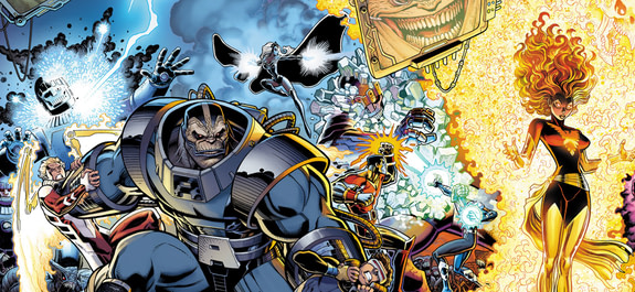 X-Men Gold and Blue spread cover by Arthur Adams and Peter Steigerwald