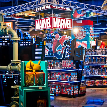 Interior of Marvel toys department in Hamleys store.