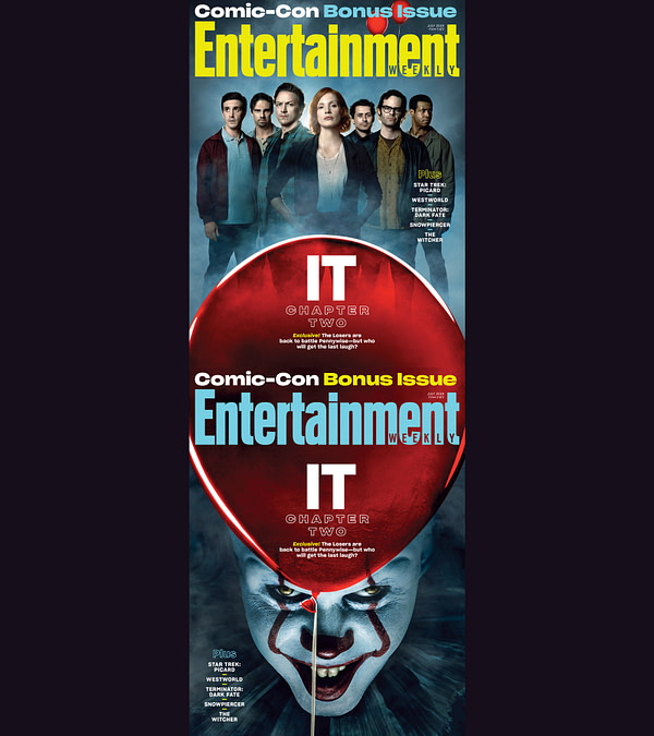 """IT: Chapter 2"" The Loser's Club and Pennywise Grace the EW SDCC Covers"