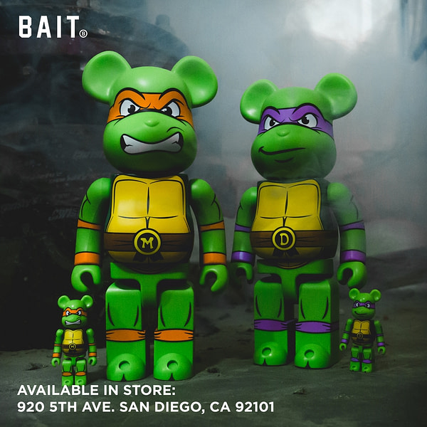 Bait Medicom TMNT Mikey and Donatello 100 and 400 Bearbrick Sets