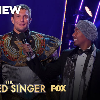 Rob Gronkowski has something to say to Nick Cannon on The Masked Singer, courtesy of FOX.
