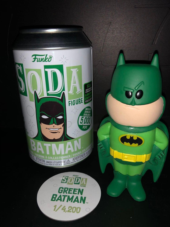 Funko Soda Vinyl Figure Emerald City Comic Con Exclusive Green Batman Figure, view of figure and can.