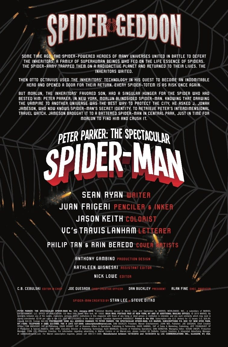 Morlun Ranks Marvel's Spider-Men in Next Week's Peter Parker: Spectacular Spider-Man #312