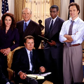 THE WEST WING, clockwise from top left: Janel Moloney, Stockard Channing, John Spencer, Dule Hill, Bradley Whitford, Allison Janney, Richard Schiff, Martin Sheen, Rob Lowe, 1999-, © NBC