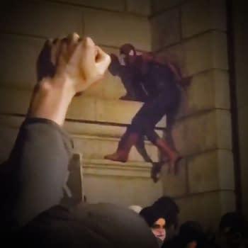 Spider-Man Scales Manhattan Bridge at Black Lives Matter Protest