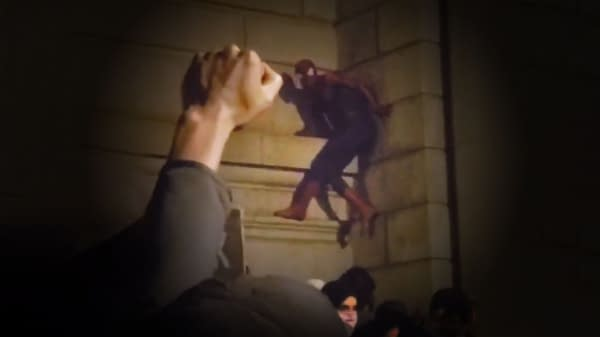 Spider-Man Scales Manhattan Bridge at Black Lives Matter Protest