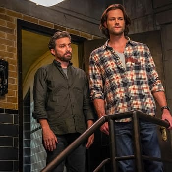 "Supernatural -- ""The Trap"" -- Image Number: SN1509A_0072bc.jpg -- Pictured (L-R): Rob Benedict as Chuck and Jared Padalecki as Sam -- Photo: Colin Bentley/The CW -- © 2020 The CW Network, LLC. All Rights Reserved."