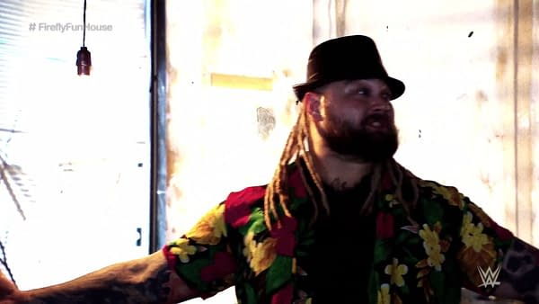 Bray Wyatt makes his move during his match at WrestleMania 36.