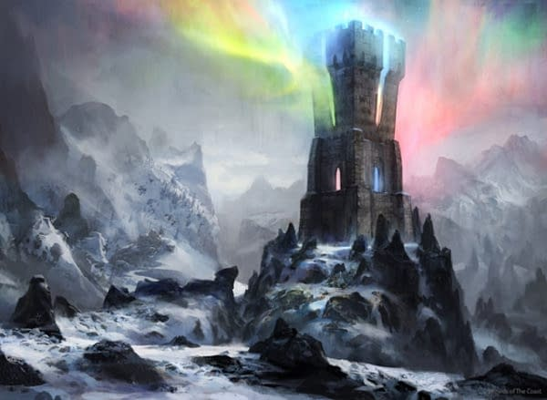 The artwork for Command Tower, a card from the Commander's Arsenal limited-edition release for Magic: The Gathering. Illustrated by Adam Paquette.