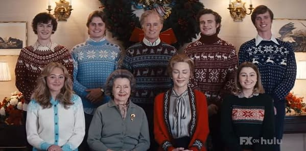 Fred and Phyllis Schlafly pose with the family for the holidays in Mrs. America, courtesy of FX on Hulu.