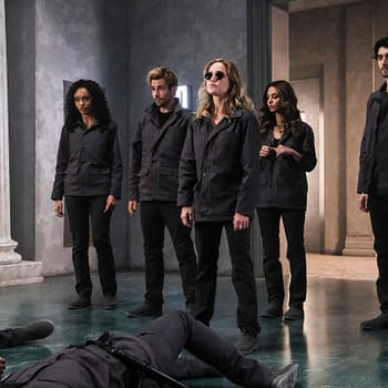 "Legends of Tomorrow -- ""Swan Thong"" -- Image Number: LGN515a_0012b.jpg -- Pictured (L-R): Olivia Swan as Astra, Matt Ryan as Constantine, Caity Lotz as Sara Lance/White Canary, Tala Ashe as Zari and Shayan Sobhian as Behrad Taraz -- Photo: Bettina Strauss/The CW -- © 2020 The CW Network, LLC. All Rights Reserved."