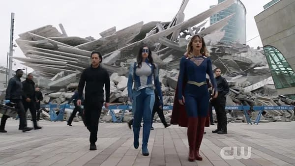 The destruction of the DEO on Supergirl, courtesy of The CW.