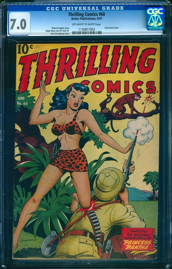 The copy of Thrilling Comics #60 that is up for auction on ComicConnect. Image Credit: ComicConnect
