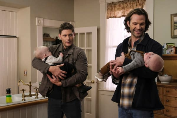 """Supernatural -- """"The Heroes' Journey"""" -- Image Number: SN1510a_0079bc.jpg -- Pictured (L-R): Jensen Ackles as Dean and Jared Padalecki as Sam -- Photo: Bettina Strauss/The CW -- © 2020 The CW Network, LLC. All Rights Reserved."""