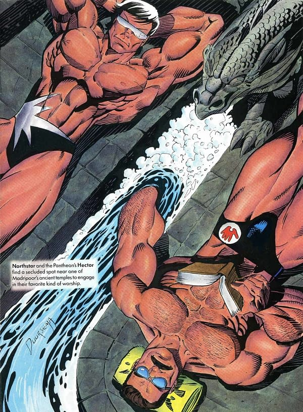 Warren Ellis Remembers When Marvel Illustrated Swimsuit Went Gay.
