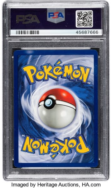 The rear face of the grade 9 Mint-graded First Edition Base Set Venusaur on auction now at Heritage Auctions. From the Pokémon Trading Card Game.