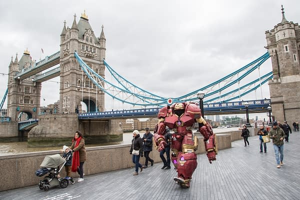 Marvel super-fan, Thomas DePetrillo visits London in giant replica Hulkbuster costume to launch Sky Movies Christmas experience at Sky Studios, The O2