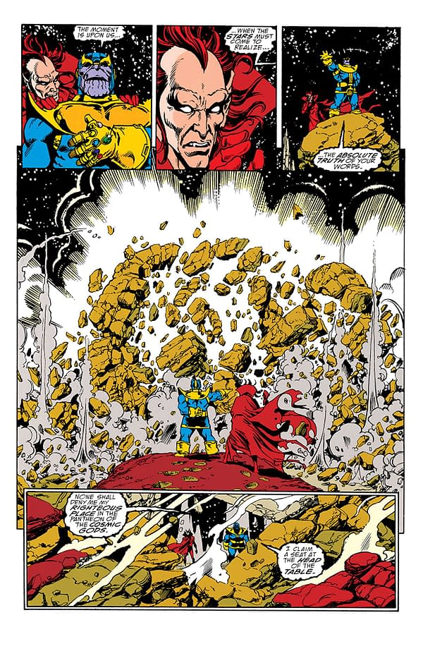 Infinity Gauntlet art by George Perez, Ron Lim, Joe Rubinstein, Tom Christopher, Bruce Solotoff, Max Scheele, Ian Laughlin, and Evelyn Stein