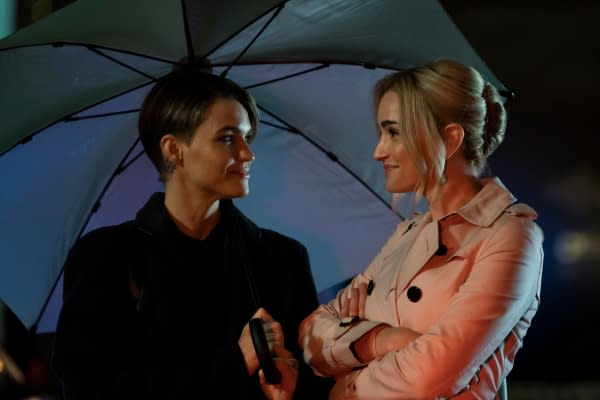 Ruby Rose as Kate Kane and Brianne Howey as Reagan in Batwoman, courtesy of The CW.
