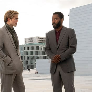 "Copyright: ©2020 Warner Bros. Entertainment, Inc. All Rights Reserved. Photo Credit: Melinda Sue Gordon Caption: (L-r) ROBERT PATTINSON and JOHN DAVID WASHINGTON in Warner Bros. Pictures' action epic ""TENET,"" a Warner Bros. Pictures release."