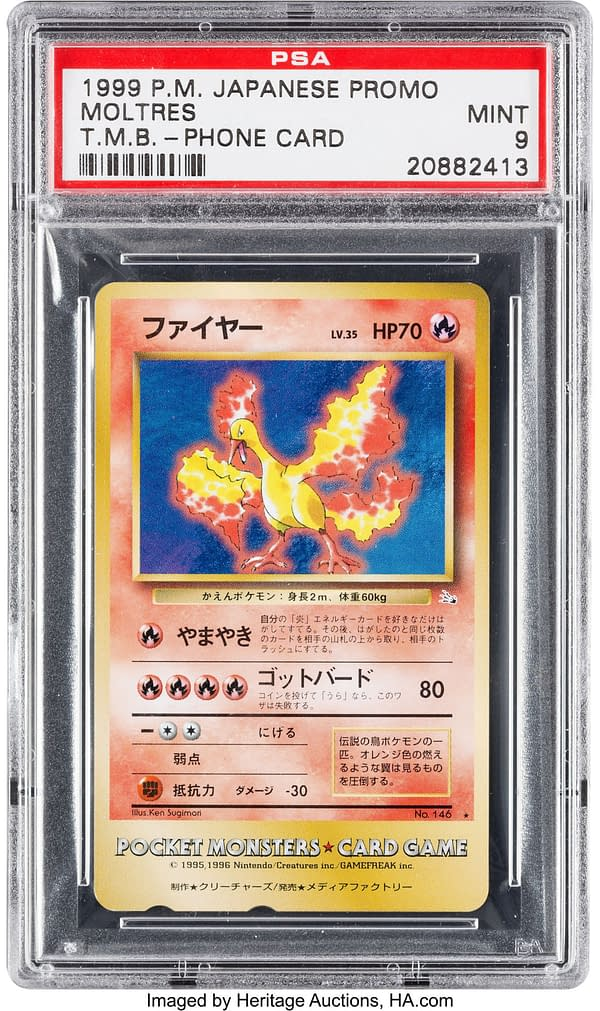 The front face of the mint-graded Tropical Mega Battle Moltres phone card prize from the Pokémon Trading Card Game. This gem of a card is up for auction at Heritage Auctions.