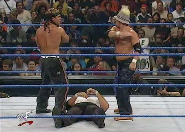 WWE wrestlers Grandmaster Sexay and partner Scotty Too Hotty