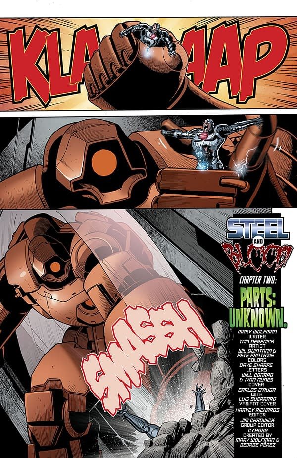 Cyborg #22 art by Tom Derenick, Wil Quintana, and Pete Pantazis