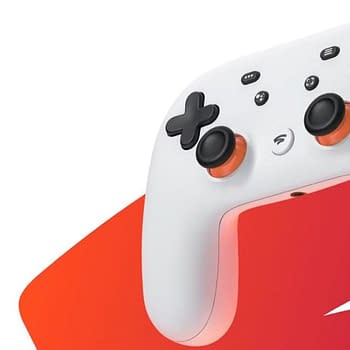 A Google Stadia controller compatible with the service.