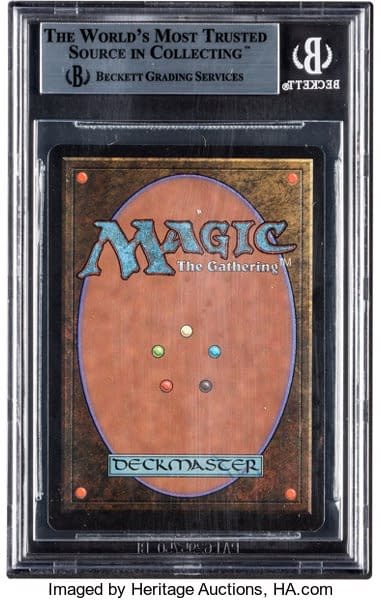The back face of the graded Near Mint, 8.5-grade Chaos Orb from Magic: The Gathering, presently on auction via Heritage Auctions.