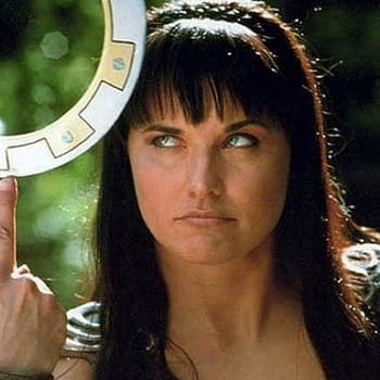 Lucy Lawless shows off her skills in Xena: Warrior Princess, courtesy of NBCU.