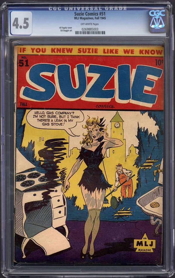 The copy of Suzie Comics #51 up for auction on ComicConnect. Image Credit: ComicConnect