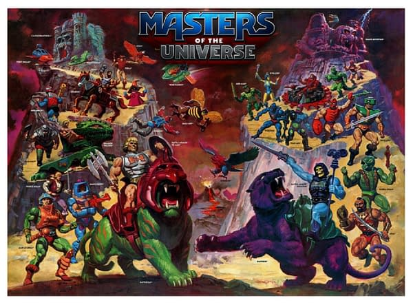 Key art for Masters of the Universe, displaying various incarnations of characters from the Mattel-owned franchise.