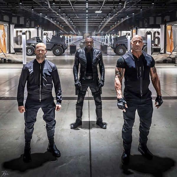 Hobbs and Shaw Jason Statham, Idris Elba, Dwayne Johnson