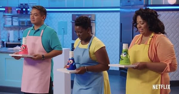Three competitors await their next challenge on Nailed It, courtesy of Netflix.